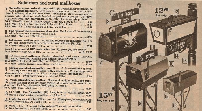 modern mailbox Montgomery Ward