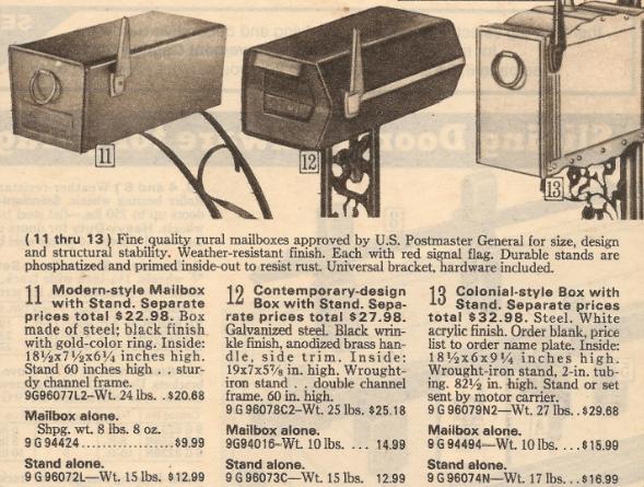 modern mailbox Sears catalog